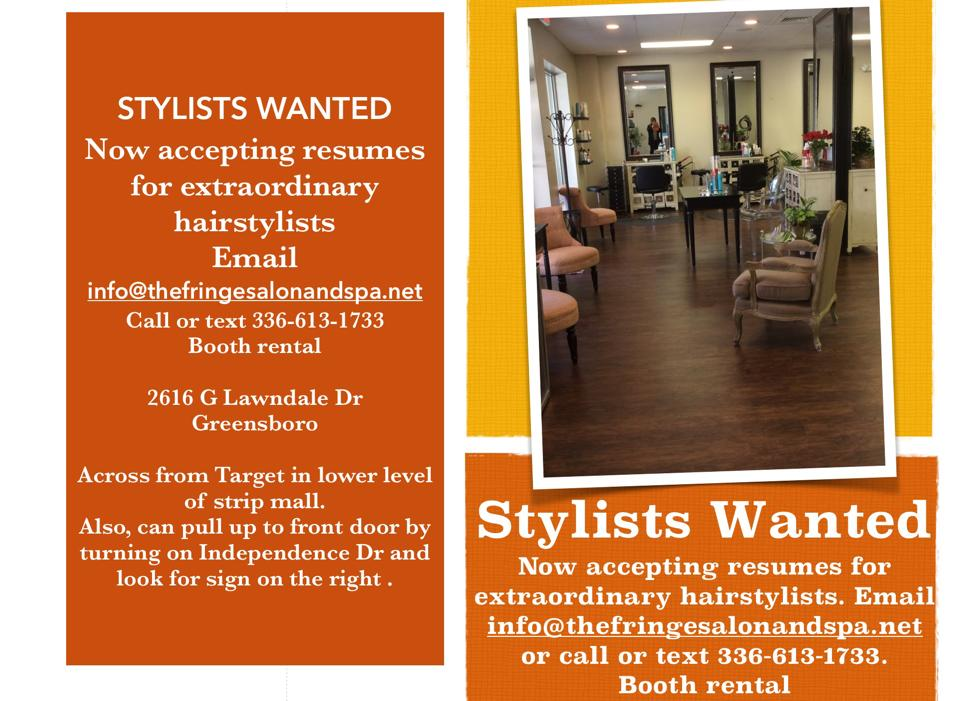 Stylists Wanted at the Fringe Salon & Spa Greensboro NC